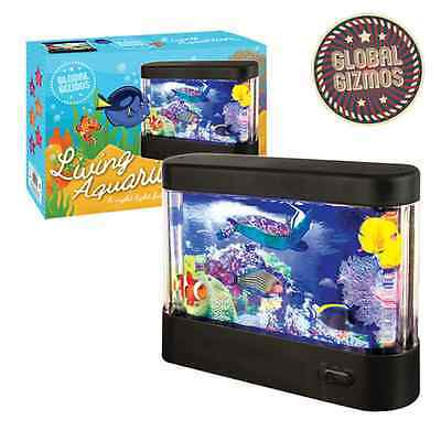 Led Living Colourful Animated Aquarium Moving Fish Tank With Built In Lamp Light