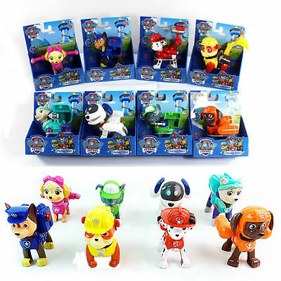 Paw Patrol Rescue Dog Pup Action Figures Kid Child Boy Figurines Car Play Set To