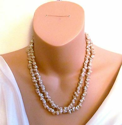 Antique Vintage Australian Pearled Trochus Shell Iridescent Beige Necklace