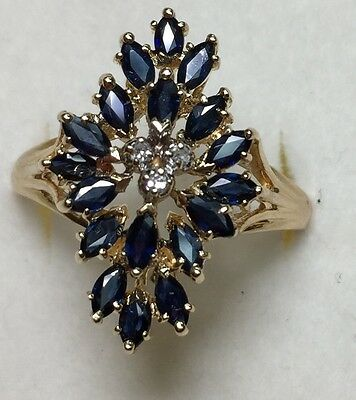 2 Ct Natural DIAMOND & BLUE SAPPHire Ladies RING solid 14k yellow gold