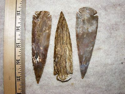 "Set Of 3 4"" Stone Spearheads Arrowheads Texas Estate Art-Bs So3-503"