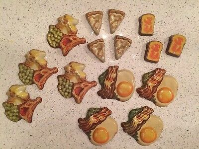 Antique Lithograph Toy Pretend Play Food LITHO Tin Metal Steaks Bacon Eggs NR!