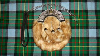 Limited One Scottish Full Dress White Rabbit Sporran Fur & Chrome Celtic Cantle