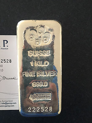 PAMP Suisse 1kg Kilo .999 pure Silver Bullion Cast Bar w certificate FREE Post