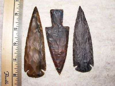 "Set Of 3 4"" Stone Spearheads Arrowheads Texas Estate Art-Bs So3-504"