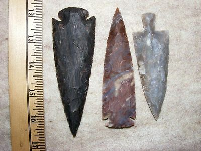 "Set Of 3 4"" Stone Spearheads Arrowheads Texas Estate Art-Bs So3-505"