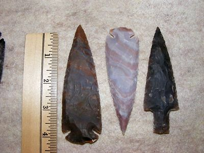 "Set Of 3 4"" Stone Spearheads Arrowheads Texas Estate Art-Bs So3-506"