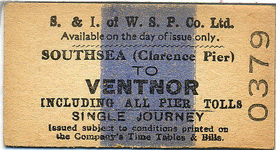 Steamer ticket: Southampton & Isle of Wight Steam Packet: Southsea to Ventnor