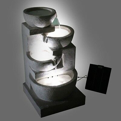 Water Fountain Outdoor Garden Water Feature with LED Lights Solar Powered