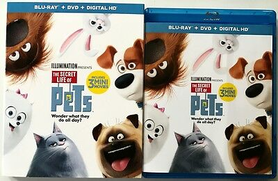 The Secret Life Of Pets Blu Ray Dvd 2 Disc Set + Slipcover Sleeve Free Shipping