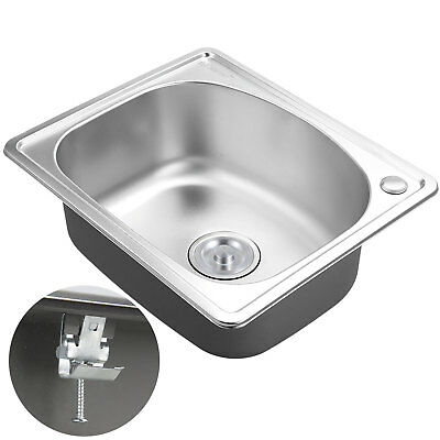 500x416mm Stainless Steel Ktichen Sink Laundry Topmount Single Bowl Clip