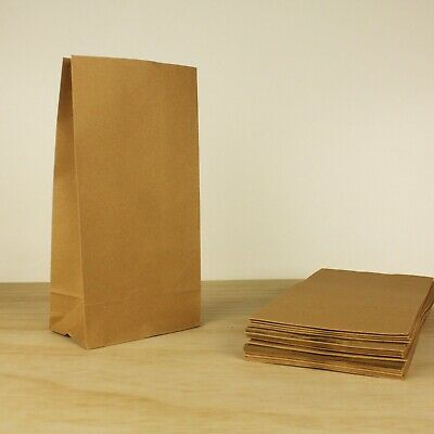 Small OR Medium - Flat Brown Paper Bags - Kraft Lolly Gift CANDY Favour Bag
