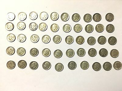 1946-1964 Roosevelt Dimes 90% Silver-- Average Condition-- 50 Coins