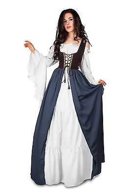 IDD Renaissance Medieval Irish Costume 2Toned Black OVER Dress & White Chemise