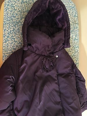 Girls Purple Padded Winter Coat With Hood. Age 2-3yrs