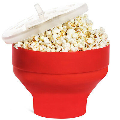 Healthy Silicone Microwave Popcorn Popper - Red -Homemade Corn Maker Bowl Bucket