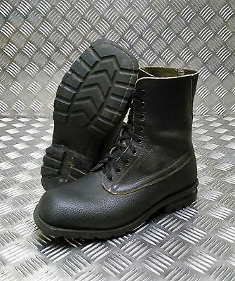 Genuine Vintage Leather 1970/80's Swedish Military Black Square Toe Boots
