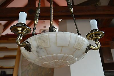 Exceedingly Rare Antique Czech Neo- Classical Carved Alabaster Chandelier 1920's