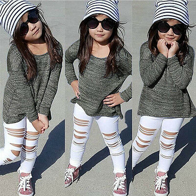 Toddler Kids Baby Girls Outfits Long T-shirt Tops+Hole Jeans Pants Clothes Set