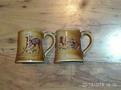 Vintage Mini Minature Wade Tankard With Animal Decoration Lion And 1 Other