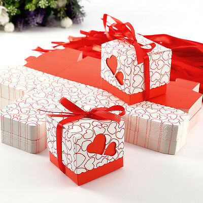 100PCS Red Love Heart Laser Cut Wedding Favour Sweet Candy Gift Boxes w/ Ribbons