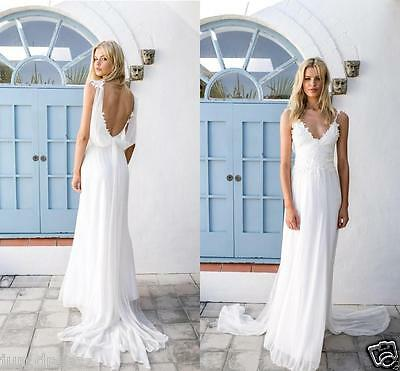 Simple Beach White Ivory Backless Straps Wedding Dress Bridal Gown Custom Size++