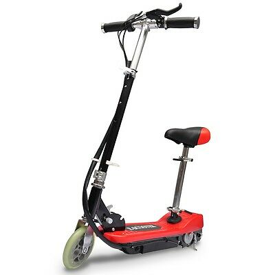 #sNEW ELECTRIC SCOOTER KID DETACHABLE SEAT 120W RED ESCOOTER RIDE ON BATTERY TOY