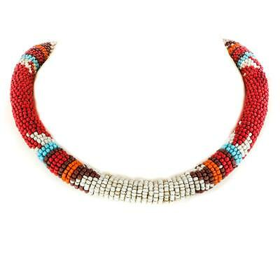 ETHNIC STYLE BEIGE RED BROWN HANDMADE SEED BEADS COLLAR necklace