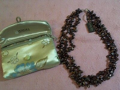 Honora Collection 3 Strand Bronze Color Pearls W/ Bag Bought On Qvc & Never Used