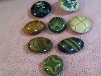 """Lot Of 8 Antique Celluloid / Dome Buttons 1"""" - 1 1/2"""" Acr. Nice Shapes & Color"""
