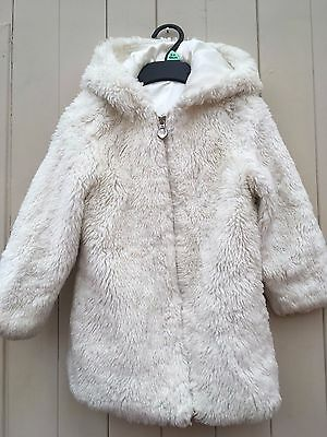 Hooded warm white fluffy coat from Next age 2-3, excellent condition