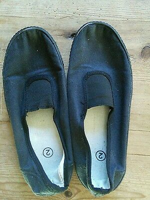 Boys or Girls Black School Plimsolls size 2