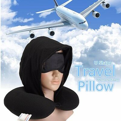 Memory Foam U Shaped Travel Neck Support Pillow With Cap + Eye Mask + Ear Plugs