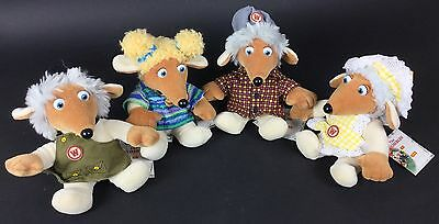 The Wombles Group Of 4 Different Plush Beanies, Golden Bear 1998, With Tags