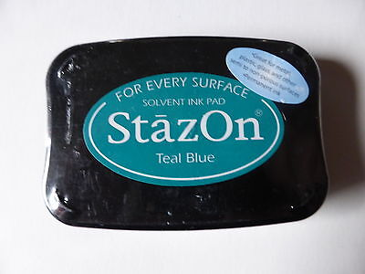 *NEW* Tsukineko STAZON Full Size Permanent Solvent Ink Pad 'TEAL BLUE'
