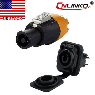 3 Pin Power Circular Connector Plug & Socket Waterproof Compatible w/ Neutrik