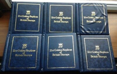22ct Golden Replicas Of British Stamps - 6 Folders - 152 First Day Covers