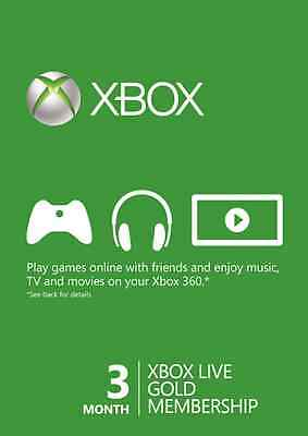 3 Month Xbox Live Gold Membership Card (Xbox One/360) AU STOCK FAST DESPATCH