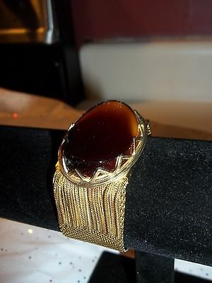 Woman's Vintage Whiting & Davis Bracelet WIDE GOLD MESH WITH AMBER STONE UNIQUE