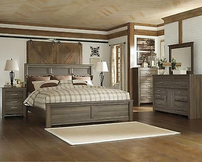 Juararo Collection 5 Piece Aged Brown Sawn Finish King Panel Bed Bedroom Set