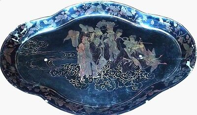 Antique Chinese 18Th Century Painting On A Black  Lacquer Carved Tray