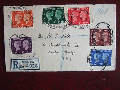 GREAT BRITAIN 1940 STAMP CENTENARY 6v PLAIN REGISTERED FIRST DAY COVER LONDON SW