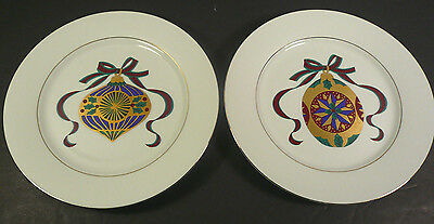 """Tienshan Fine China 2 CHRISTMAS ORNAMENT 8"""" Plates with Gold Accent"""