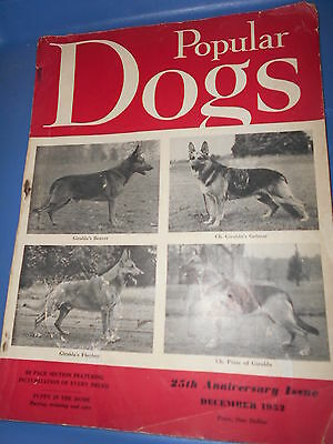 Vintage Popular Dogs Magazine December 1952 German Sheppard Cover 25 Anniversary