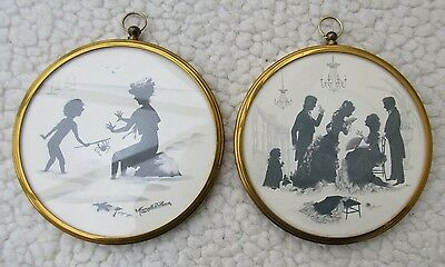 2  Vintage Silhouette  Framed Pictures
