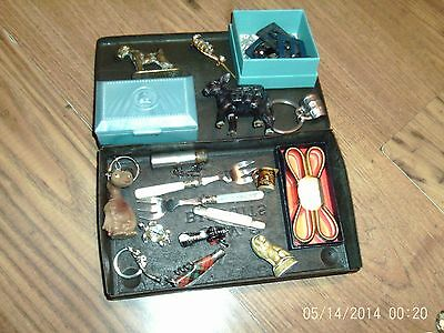 Mixed Lot Of Little Collectables In Old Tin Buckles Whimsie Brass Etc