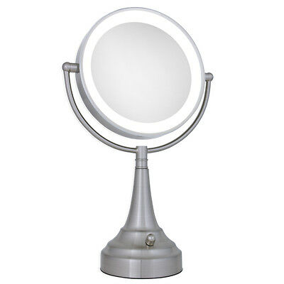 Zadro 10X / 1X LED Lighted Round Satin Nickel Vanity Magnifying Mirror