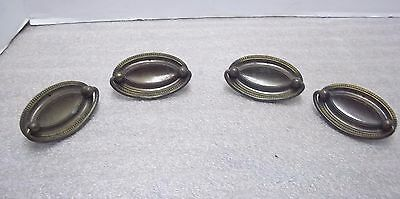 4 Vintage Stamped Oval Pulls, Single Post, Metal, Furniture, Drawer