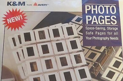 NEW K&M Avery Photo Pages For 35mm Slides Holds 20 - 10 Pages, Slide Sleeves