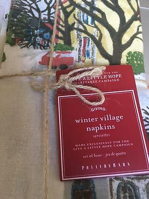 NEW Pottery Barn Set of 4 WINTER VILLAGE Napkins  CHRISTMAS Matches Plates 2015